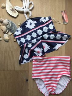 %Aztec Peplum and Pink Stripe Bikini Aztec Designs, Striped Bikini, Pink Stripes, Custom Fabric, Bikini Tops, Peplum, Delicate, Bikinis, Girls