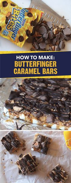 Rather than make s'mores at your next bonfire, bake this recipe for Butterfinger Caramel Bars. This flavorful dessert is filled with crispety, crunchety, peanut-buttery BUTTERFINGER® Bites, caramel bits, mini marshmallows, graham crackers and more! Click here for step-by-step instructions on how to make this tasty treat.