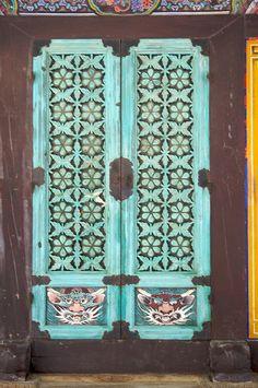 Temple doors, via Flickr  South Korea