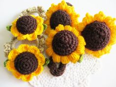 Hey, I found this really awesome Etsy listing at https://www.etsy.com/listing/218976242/sunflower-crochet-hair-ties-brown