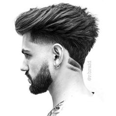 barber beard bearded ink tat barbershop barbers trim shave cut blade hair tattoo mensfashion men menshair male alpha style trendy trend Reposted from Hairstyles Haircuts, Haircuts For Men, Hair And Beard Styles, Curly Hair Styles, Pelo Hipster, Mens Hair Colour, Hair 2018, Fade Haircut, Brunette Hair
