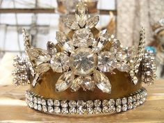 Rhinestone embellished brass crown hand made by AnitaSperoDesign, $180.00