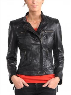 124.00$  Watch here - http://vieoz.justgood.pw/vig/item.php?t=6t3p1e92258 - motorcycle leather jacket womens Genuine Lambskin Biker Slim Outwear Fashion 234 124.00$