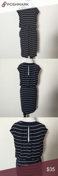 NWT Banana Republic NavyBlue & White Striped Dress Brand New. Tie Waist. Peek a boo back. Relaxed fit. Midi. 96% Rayon. 4% Viscose. Banana Republic Dresses Midi