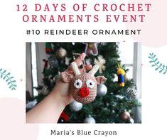 Crochet Reindeer Ornament - Free Pattern - Maria's Blue Crayon Crochet Ornaments, Christmas Crochet Patterns, Holiday Crochet, Crochet Snowflakes, Christmas Items, Christmas Angels, Christmas Crafts, Christmas Decorations, Christmas Ornaments