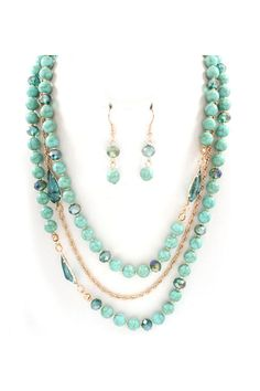 Isabelle Necklace in Turquoise Crystal