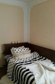 Bedroom / Single Bed / Ikea Fur / Candles / Cushions / Wall Frame