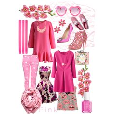 Pink by xhazeyx on Polyvore featuring polyvore, fashion, style, Chicwish, River Island, Moschino, Manolo Blahnik, Oscar de la Renta, Keds, Kate Spade, Mixit, Ananda Design, Steve Madden, Essie, Laura Cole, Accessorize and True Grace