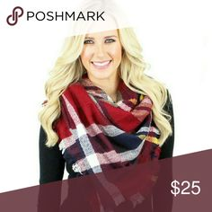 "Red Blanket Scarf Plaid Blanket Scarf  70% Acrylic 30% Wool 55"" X 55"" Length Accessories Scarves & Wraps"