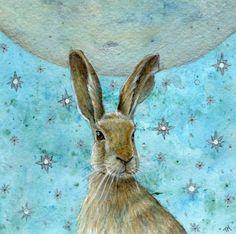 Stargazing Artist print Hare by MollysFollies on Etsy Jack Rabbit, Rabbit Art, Silly Rabbit, Rabbit Hole, Illustrations, Illustration Art, Lapin Art, Bunny Art, Funny Bunnies