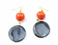 African bone disc earrings with burnt orange ceramic bead