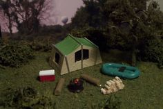 Camp Site Tent Boat Cooler Firewood More N Scale
