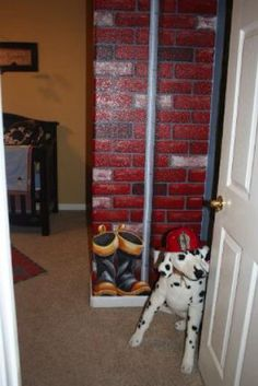Firefighter theme bedroom decorating Ideas  See More  BrickLadder decor for toddler firetruck room    One day  . Firefighter Room Decorations. Home Design Ideas