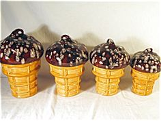 Chocolate Ice Cream Cone Canisters (4)