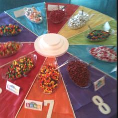 candy spinner for game of life themed graduation party. Game Night Parties, Grad Parties, Birthday Parties, Board Game Themes, Board Games, Candy Party, Bbq Party, Family Game Night, 8th Birthday