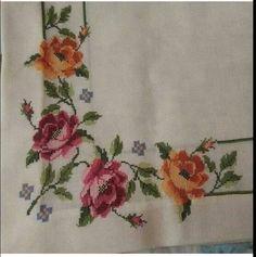 Alıntıdır Napkins, Embroidery, Cute Cross Stitch, Cross Stitch Embroidery, Hardanger, Roses, Crocheting, Dots, Manualidades