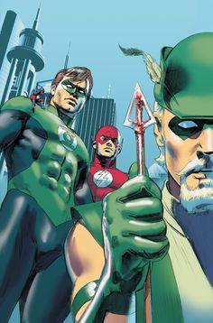 Green Arrow, Green Lantern, Atom, & Flash