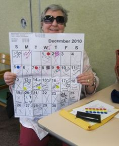 Geriatric OT - A person with macular degeneration uses Color coding a calendar to help keep organized.. Ex. using yellow for days with medical appts.
