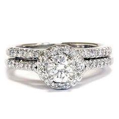 .75CT Diamond Engagement 14K White Gold Matching Wedding Ring Band Set Halo Vintage Like Style