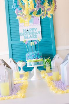 Monsters, Inc. Inspired Birthday Party - love the pastel color scheme and funky textures!