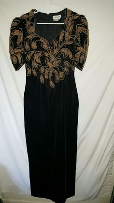 Showtime Black Velvet Gold Beads Gown Dress Split in Back  #showtime #pageantcocktailprom