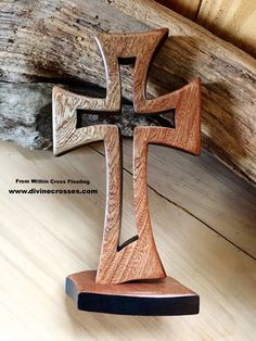 """The """"From Within"""" Cross in Sapele — DivineCrosses® Wood Carving Designs, Wood Carving Patterns, Diy Wood Projects, Wood Crafts, Cnc, Wooden Christmas Crafts, Wooden Crosses, Scroll Saw Patterns, Wood Coasters"""