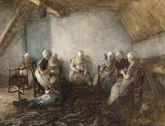 Bernard Blommers - Vrouwen herstellen netten, katwijk