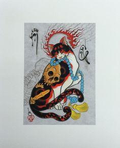 Monmon Skeleton Neko Mata Cat Print