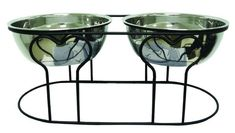 "YML Group DDB7 7"" Wrought Iron Stand with Double Stainless Steel Feeder Bowls"