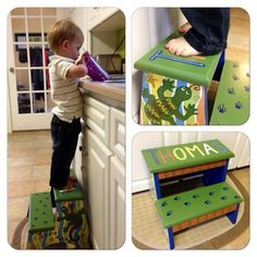Painted wooden step stool salamanders lizards personalized #ECMC Facebook:NaptimeDesignsJD naptimedesignsjd@gmail.com
