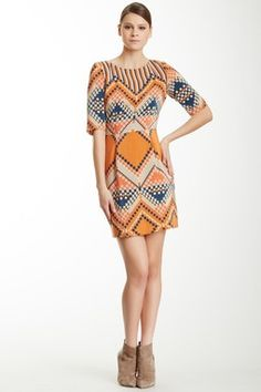 Silk Printed Cutout Dress