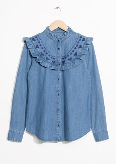 & Other Stories | Frilled Denim Blouse