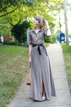 Tan Shirtdress Maxi Trovata Dress   Mustard Straw Random Boutique Bag  Gold Flats Zara Sandals   Gold Knot Adia Kibur Necklace