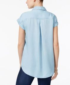 Style & Co Short-Sleeve Denim Shirt, Only at Macy's - White S