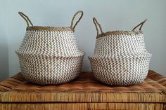 Handmade Vietnamese Seagrass Belly Basket White and Natural Zig Zag Pattern Belly Basket, Zig Zag Pattern, Hand Weaving, Traditional, Baskets, Handmade, Natural, Plant Pots, Beautiful