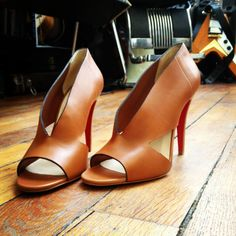 Christian Louboutin copper-colored open-toe heels