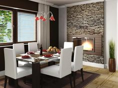 A wall-mounted fireplace makes a dinner gathering more intimate and cozy, and the stone facade brings a natural touch to the modern gas fireplace. The warm, inviting look is complete with soft lighting, rich walls and comfortable seating. A neutral area rug and light hardwood flooring anchor the space.