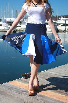 Upcycled T-Shirt Skirt by SnugglePants Denim Fashion, Cute Fashion, Fashion Outfits, Recycled T Shirts, Recycled Clothing, Recycled Crafts, Tee Shirt Crafts, Cycling T Shirts, Nautical Stripes