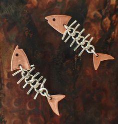 Fish Bones Earrings in Copper and Sterling Silver – Unkamen Supplies