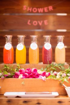 mimosa bar mixers, photo by Seriously Sabrina Photography http://ruffledblog.com/pink-bridal-shower-inspiration #weddingideas #drinkbar