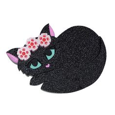 Peppy Chapette Flower Queen Kitten brooch in black. Made in Melbourne by Louisa Camille New Pins, Cool Cats, Old And New, Brooches, Jewelery, Queen, Unicorns, Pretty, Flowers