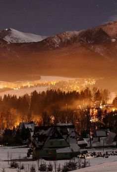 night under the Giewont mountain in Poland