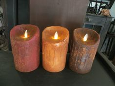 NEW Drip Primitive Flameless Candles. We make each of the wonderful candles here in our shop and sell them retail & wholesale all over the USA & Canada.  www.primitiveflamlesscandles.com