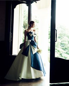 Colored Wedding Dresses, Wedding Dress Styles, Bridal Dresses, Wedding Gowns, Blue And White Dress, White Gowns, Ball Dresses, Ball Gowns, Formal Cocktail Dress