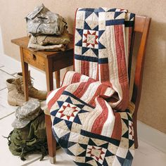 Three Tours quilt. Patriotic quilts are especially touching when it comes to gift giving. You can use this pattern to make a Quilt of Valor and give it to a serviceman or woman as a token of your appreciation. As far as patriotic quilts go, this one is topnotch.