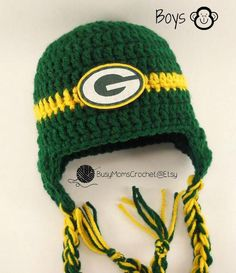 Handmade Green Bay Packers colors inspired crochet hat and booties set 1b3a6e992