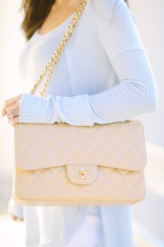 Free People thermal top (comes in several colors) // similar white pants Chanel light beige bag, similar here // Baub...