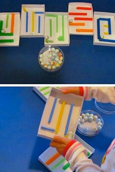 Making a-maze-ing marble mazes for the preschool classroom Mazes for Motor skills Motor Skills Activities, Gross Motor Skills, Sensory Activities, Toddler Activities, Preschool Activities, Marble Maze, Preschool Classroom, Kids Learning, Kids Playing