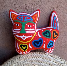 Hand Stitched Happy Hearts Mola Cat    by molamama, $22.50