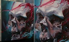 skull painting with.palette.knife - Google Search